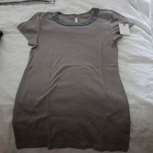 Grey shirt with beaded neckline